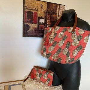 Lucky Brand Pineapple Tote & Wallet